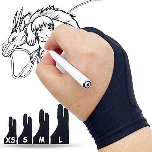 Lamonde Drawing Glove for Right Left Hand, Palm Rejection Artist's Glove for iPad, Graphic Tablets, Paper Sketching, Medium - 2 PCS