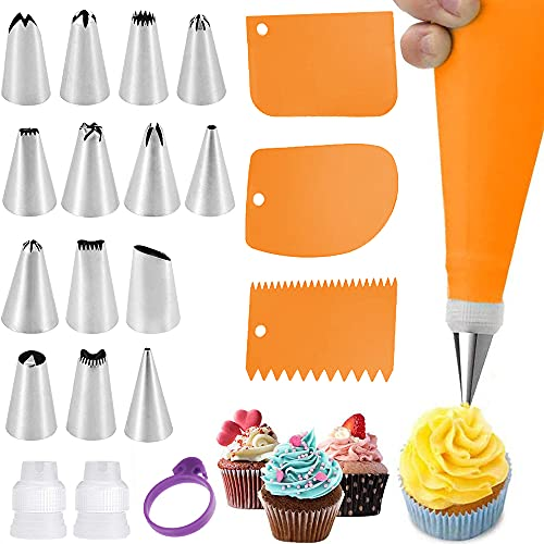 Piping Bag and Tips Set Reusable Cake Decorating Kit Tools, 14 Frosting Tips and Silicone Pastry Bag,3 Icing Smoother, 2 Couplers,1 Bag Tie for Cupcake Baking Supplies