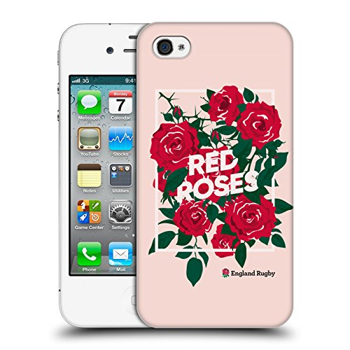 Head Case Designs Official England Rugby Union Enmarcado Rosa La Rosa 2 Carcasa rígida Compatible con Apple iPhone 4 / iPhone 4S
