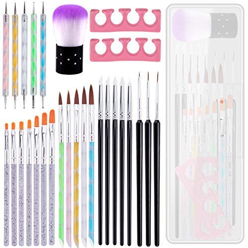 BQTQ 28 Pcs Nail Art Brush Pen Set, 7 Pcs UV Gel Nail Brush 5 Acrylic Nail Brush 3 Pcs Liner Brush 5 Pcs Nail Dotting Pen 5 Pcs Silicone Nail Pen 2 Pcs Finger Toe Separators 1 Pc Powder Remover Brush