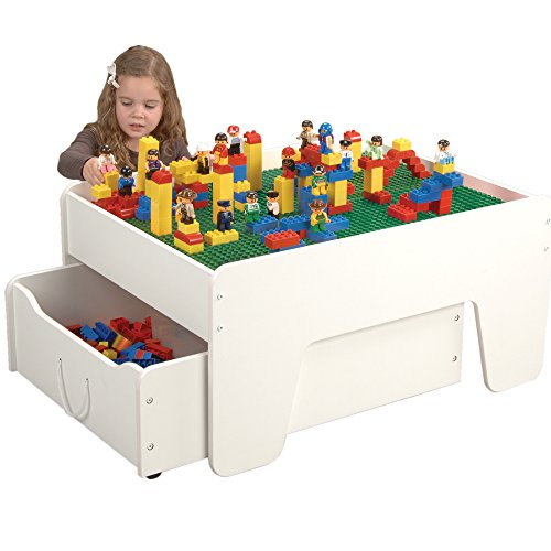 Activity Table with Trundle Drawer for Preschool Building Bricks