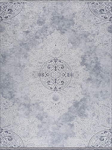 Siela Teppich Waschbarer in Waschmaschine Pflegeleicht Strapazierfähig und Schadstoffgeprüft Versch. Muster und Größen Wohnzimmerteppich Grau(80x150cm)