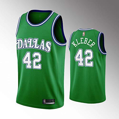 Wo nice Männliche Basketball-Uniformen, Dallas Mavericks # 42 Maxi Kleber NBA Atmungsaktive Und Schnell Trocknende Weste Basketball-Trikots Sleeveless Sport T-Shirt Tops,Weiß,M(170~175CM)