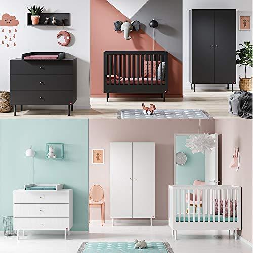 Babyzimmer Kinderzimmer Komplett Set Caddy Bett Schrank Kommode weiß oder schwarz (Weiß)