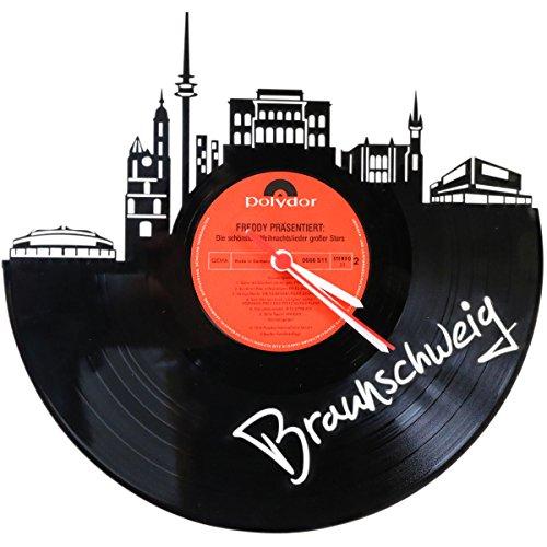 GRAVURZEILE Wanduhr aus Vinyl Schallplattenuhr Skyline Braunschweig Upcycling Design Uhr Wand-Deko Vintage-Uhr Wand-Dekoration Made in Germany