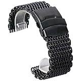 FWEOOFN Cinturino per Orologio 18mm 20mm 22mm 24mm Cinturino per Orologio da Polso in Maglia di Acciaio Inossidabile Nero Moda Uomo Cinturino per Orologi Bracciale di Alta qualità