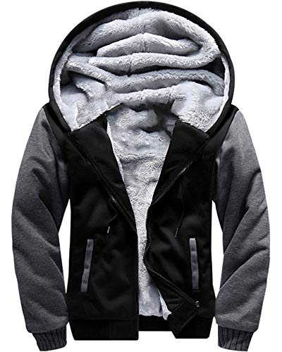 MACHLAB Men's Pullover Winter Workout Fleece Hoodie Jackets Full Zip Wool Warm Thick Coats Black#W02 XL
