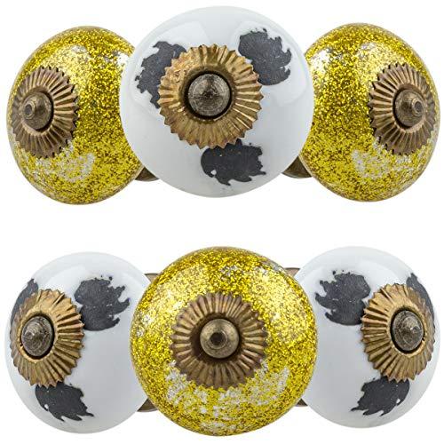 Set di 6 pomelli per mobili, 11022, oro/argento bianco, stile shabby, in ceramica, dipinti a mano, per armadio, cassetto, comò, porta