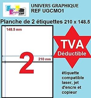 1000 étiquettes 210 x 148.5 mm autocollantes - soit 500 feuilles A4 - planche de 2 étiquettes adhésive A5 210 x148.5 Réf U...