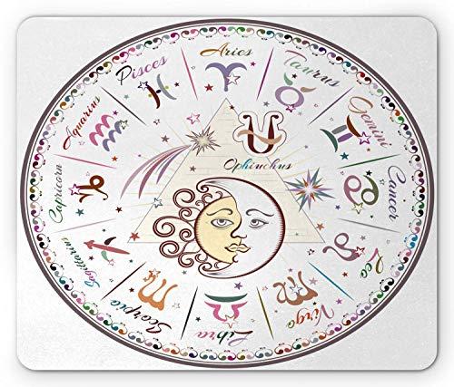Zodiac Mouse Pad, Western Chart mit allen Zeichen Widder Jungfrau Leo Stier Waage Mystique Schicksalskalender, Rechteck rutschfestes Gummi-Mauspad, Standardgröße, Pastellrosa