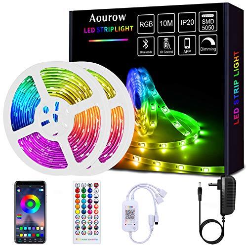 Aourow Tira de LED de 10m,Tiras de LED Bluetooth RGB con Control de APP y Control Remoto de 40 Botones,Sincronización con Música,Tira de luz SMD5050 para Fiesta,Casa,Decoración(no Impermeable)