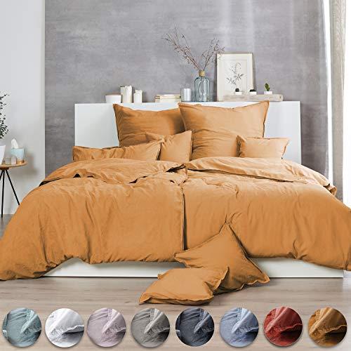 Bettwäsche Renforce Stone-Washed 135x200 & 80x80 cm 100% Baumwolle - gelb senfgelb Curry OekoTex weich modern Used-Look Leinen-Optik