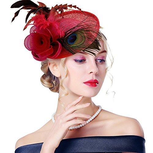 Edith qi Femmes Cappello di Cerimonia, Fascinators con Retro Fiore di Peacock Piuma Sinamay Net con Clip di Capelli per Accessori di Nuziale del cocktail, multicolore