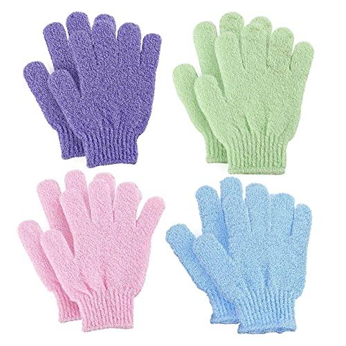 VEGCOO 4 Pairs Gants Exfoliants, Douche Bain Gants Double-face Gommage Corps Couleurs Assorties pour Hommes Femmes Enfants et pour la Douche/le Bain/le Spa/le Massage(violet+ vert+ bleu+ rose)