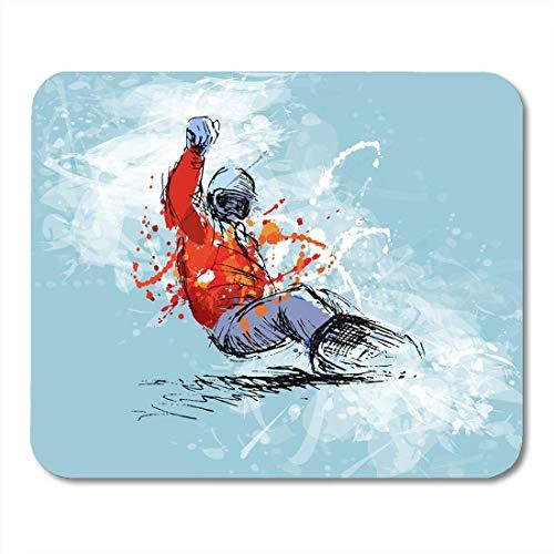 Mauspad,Person Blue Snowboard Farbige Hand Skizze Snowboarder Auf Grunge White Ski Active Soft Komfortable Schreibtisch Mousepad,30*25cm