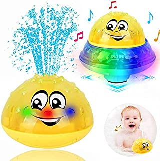 Bath Toys, 2 in 1 Induction Spray Water Toy & Space UFO Car Toys with LED Light Musical Fountain Toy Automatic Induction S...