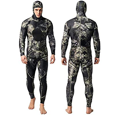 Nataly Osmann Camo Spearfishing Wetsuits Men 3mm /1.5mm Neoprene 2-Pieces Hooded Super Stretch Diving Suit (Camo-3mm, XXL)