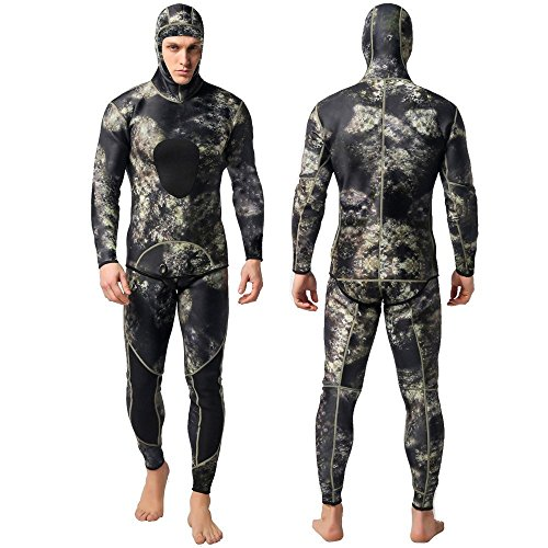 Nataly Osmann Camo Spearfishing Wetsuits Men 3mm /1.5mm Neoprene 2-Pieces Hooded Super Stretch Diving Suit (Camo-3mm, M)