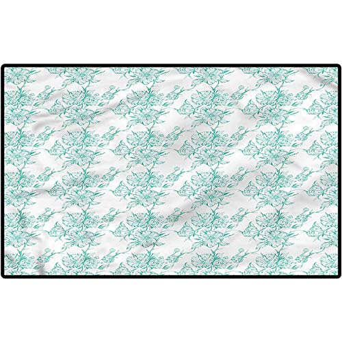 RenteriaDecor Turquoise Rug Shoes Mat Peony Bouquet Flourishing Farmhouse Rugs for Kitchen/Bathroom/Front Porch/Decor 57x24 Inches