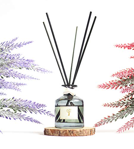 Natural Lavender Oil Reed Diffuser Set | Lavender Essential Oil with 5 Scented Sticks | Reed Diffuser Sticks with Oil 1.6oz | Oil Sticks for Bathroom Decor, Home Fragrance Gift | for Mind & Body