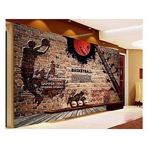 Equipo de vida Mural de pared Papel tapiz 3D Mural no tejido Foto de arte de pared Mural Sala de estar Dormitorio Televisión Oficina Restaurante Murales Decoración del hogar-Baloncesto NBA Graffiti
