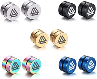 5 Color Set-8MM Magnet Magnetic Non Piercing Ear Odins Knot Viking Triangles Valknut Stud Earrings