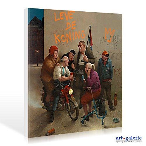 Leinwandbild Marius van Dokkum - Long live the king! - 30 x 30cm - Premiumqualität - , Karikatur, Senioren, Alt-Rocker, Motorrad, Rollator, Graffiti, cool, lustig, komisch, Wo.. - MADE IN GERMANY - ART-GALERIE-SHOPde