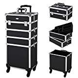 AW Classic Black Rolling Makeup Case 4in1 Cosmetic Lockable Trolley Freelance Makeup Artist Travel Train Case Storage