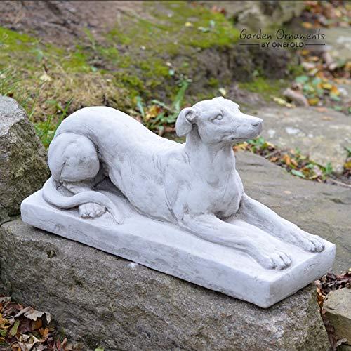 GREYHOUND ON PLINTH - HAND CAST STONE GARDEN ORNAMENT/STATUE/DOG SCULPTURE