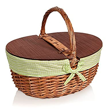 Picnic Basket with Lid - Extra Large - Thoughtful & Romantic - Woven Wicker - Includes Green Gingham Liner