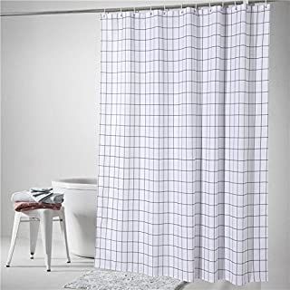 Ufaitheart Water-Repellent 36 by 72 Inch Fabric Shower Curtain Small Size, Black White Classical Plaid/Check Shower Curtain Heavy Duty