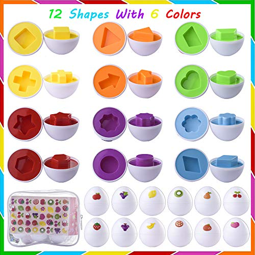 Cdycam Matching Egg Toddler Toys, Educational Toy for Kids Learning Colors & Shapes Match - for Age 18 Months and up Kids Toddler Easter Eggs, DIY 12Pcs Matching Egg with Fruit Sticker, Storage Bag