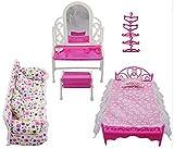 Rehomy 8 Piezas/Juego de Muebles de Princesa Acce Kids Gift con 1 Juego de Tocador 1 Juego de Sofás 1 Juego de Cama Y 5 Perchas para Muñecas Barbie