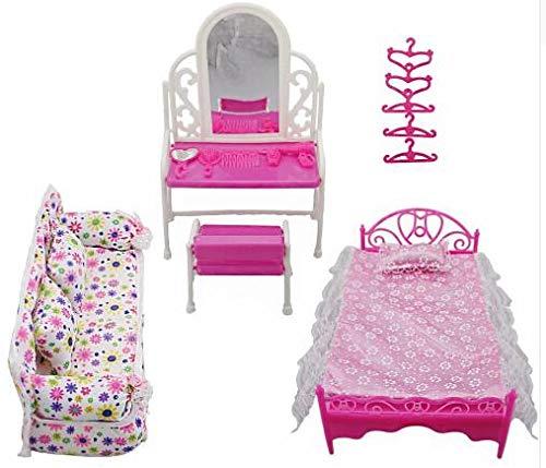 Rehomy Prinzessin Möbel Zubehör Kommode Set + Sofa Set + Bett Set + Kleiderbügel für Schlafzimmer Barbie Doll 8 Artikel / Los