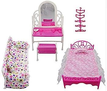 Juego de Muebles de Princesa de 8 Piezas para Niños Juego de Tocador de Regalo + Juego de Sofá + Juego de Cama + 5 Cambiadores para Muñeca Barbie