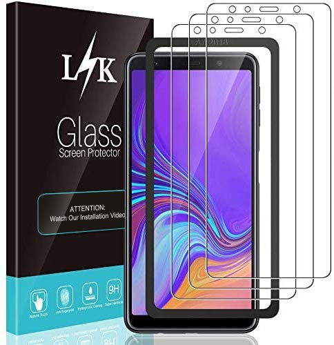 LϟK 3 Pack Protector de Pantalla Compatible con Samsung Galaxy A7 2018 - Cristal Vidrio Templado - Dureza 9H Funda Compatible Marco de Posicionamiento Sin Burbujas Kit Fácil de Instalar