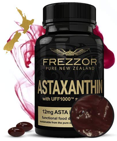 FREZZOR Astaxanthin 12mg, 60 Softgels - Made in New Zealand, Concentrated Antioxidant Carotenoid Supplement. Anti-Aging, Skin, Brain, Eye, Nerve, Joint, Muscle Recovery, Cardiovascular & Immune System