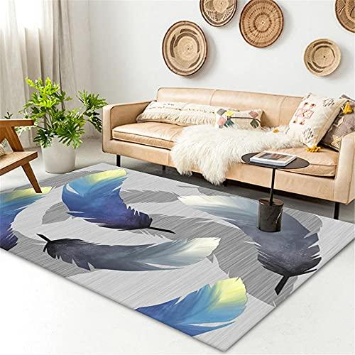 alfombras infantiles niña Azul Alfombra de estar alfombra azul simple plumas patrón con lavado de agua de alfombra rumoreado alfonbras de dormitorios 60x90cm cuadros cabecero cama matrimonio 1ft 11.6'