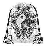 Jhonangel Bolso de Mochila con cordón de símbolo Dibujado a Mano Yin-Yang, Saco de cincho de poliéster, Bolso de Deporte Deportivo Impermeable Mochila Escolar 36 x 43 cm / 14.2 x 16.9 Pulgadas