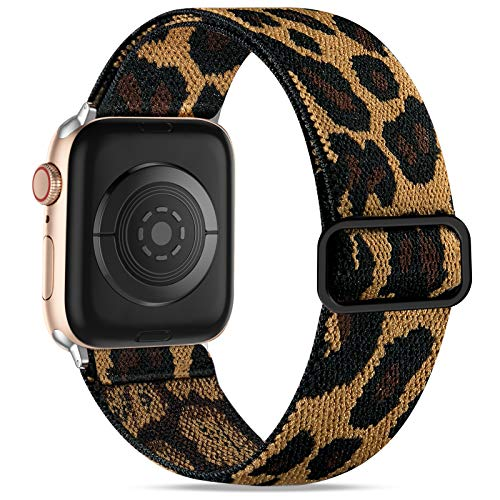 Wepro Strap Compatible with Apple Watch 40mm 38mm for Women/Men, Stretchy Adjustable Nylon Stylish Replacement Strap for Apple Watch SE/iWatch Series 6 5 4 3 2 1, Leopard