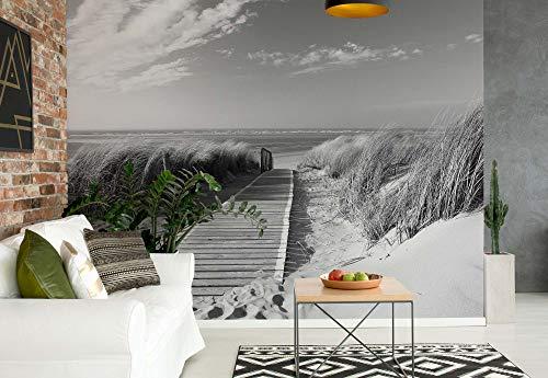Muursticker Warehouse strand trottoirpad kust duinen zwart en wit fotobehang fotomural