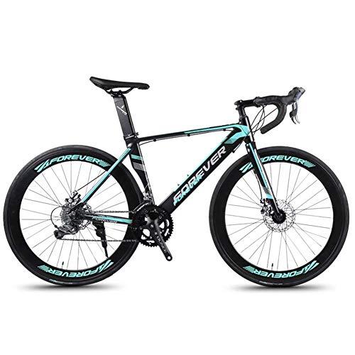 DJYD 14 Speed Rennrad, Alurahmen Straßen-Fahrrad, Männer Frauen Rennrad mit mechanischen Scheibenbremsen, Stadt-Pendler-Fahrrad-Stadt-Dienstprogramm Fahrrad, orange FDWFN (Color : Green)