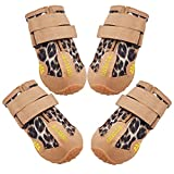 CHELLA Dogs Boots, Dog Shoes for Hot Pavement and Paw Protection, Dog Booties Breathable Anti-Slip Waterproof Rain Boots, with Adjustable Reflective Straps for Small Medium Large Dogs 4PCS (Large)