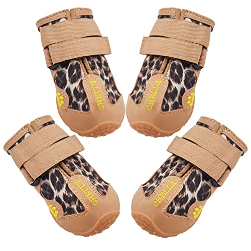 CHELLA Dogs Boots, Dog Shoes for Hot Pavement and Paw Protection, Dog Booties Breathable Anti-Slip Waterproof Rain Boots, with Adjustable Reflective Straps for Small Medium Large Dogs 4PCS (Small)