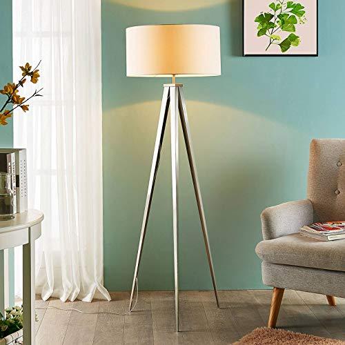 Lindby Tripod Stehlampe 'Benik' (Modern) in Weiß aus Textil u.a. für Wohnzimmer & Esszimmer (1 flammig, E27, A++) - Stehleuchte, Floor Lamp, Standleuchte, Wohnzimmerlampe, Tripod, Wohnzimmerlampe