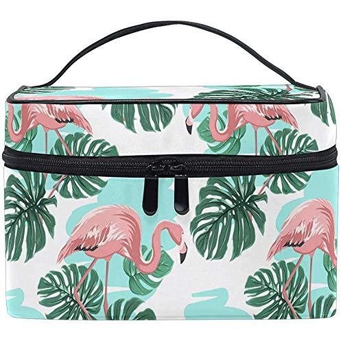 Trocial Vogels Palm Bladeren Leuke Cartoon Roze Flamingo Cosmetische Tas Reizen Cosmetische Borstel Tas Opslag Organizer