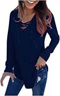 Women's Fall Long Sleeve Blouse,MOHOLL Casual Round Neck Lace Tunic Tops Loose Pullover Sweatshirt