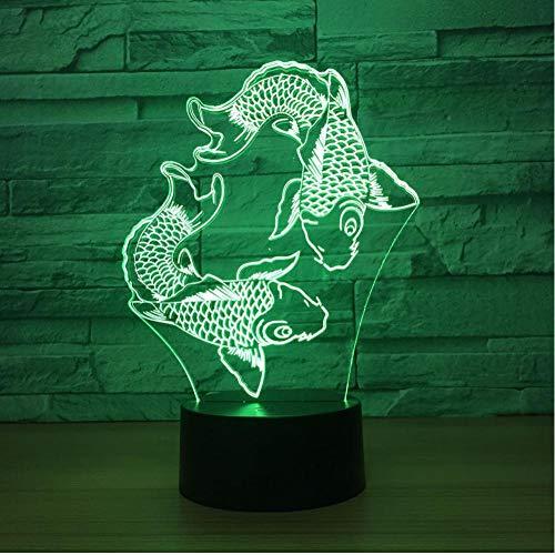 Gyjcd Peces De Natación Lámpara De Lava 3D 7 Cambio De Color 3D Led