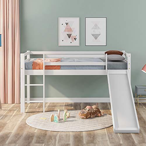 Children's Loft Bed Frame, with Slide & Ladder, Bunk Bed Adjustable Slide Wooden Bed Frame with Guard Rails, for Kids, 190x90 cm