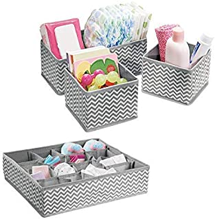 Vinkl Fabric Storage Organizer Set with Compartments for Nursery  Drawers  Closet  Dresser Top  Changing Table Set Gray White